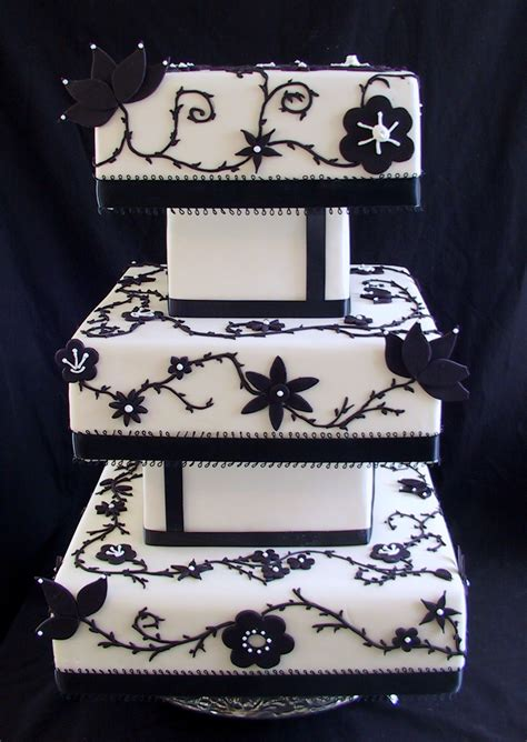Black And White Wedding Cake by A Beautiful Collection Of Unique Square Wedding Cakes Ipunya