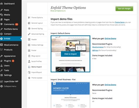 enfold theme help how to import demo file support kriesi at premium