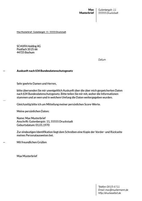 Brief Schreiben Muster Französisch Drucke Selbst Musterbrief F 252 R Eine Kostenlose Schufa Auskunft