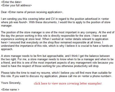 store manager application letter exle learnist org