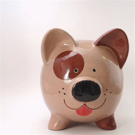 puppy piggy bank brown piggy bank personalized puppy bank animal