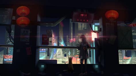 wallpaper cyberpunk girl  art