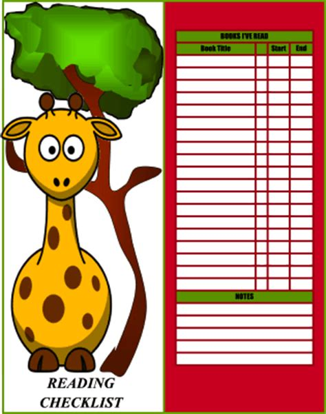 printable giraffe bookmarks giraffe reading checklist bookmark