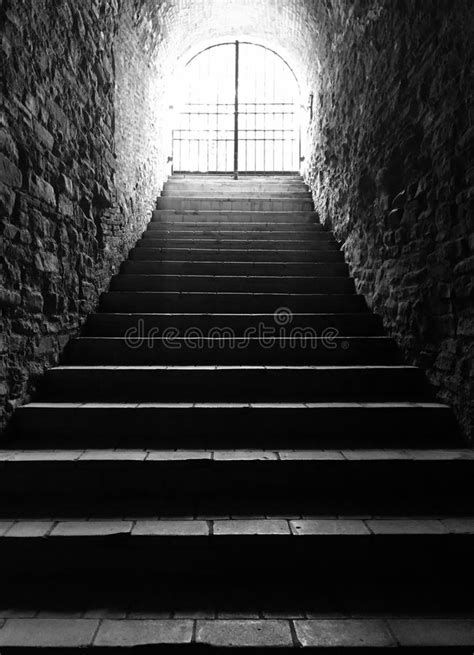 Light At The End Of Tunnel Stairs Stock Photo - Image of