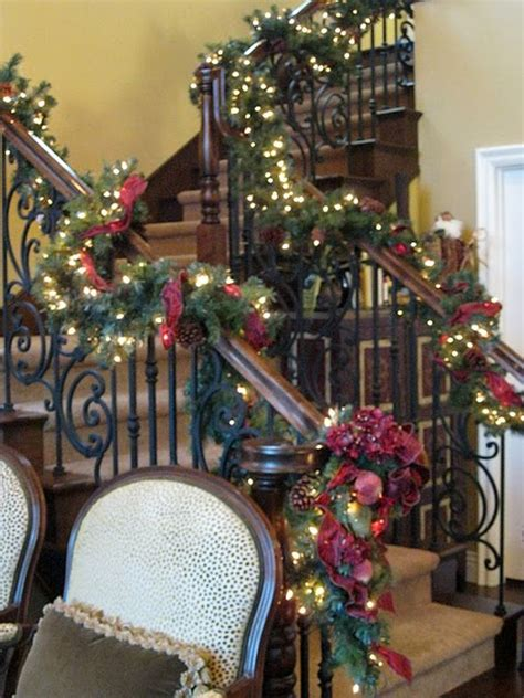 how to decorate a banister decorate the stairs for christmas 30 beautiful ideas