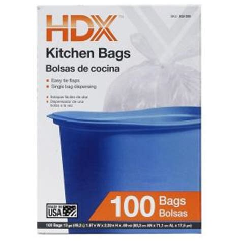 Home Depot Kitchen Garbage Bags Hdx 13 Gal Kitchen Flap Tie White Trash Bags 100 Count