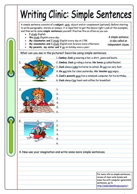 Esl Essay Writing by Writing Clinic Simple Sentences Worksheet Free Esl Printable Worksheets Made By Teachers