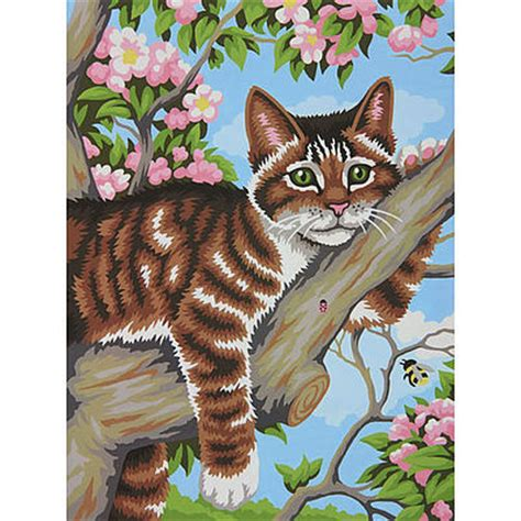 Cat Acrylic Reeves lazy cat paint by number kit 91478 by dimensions 91478