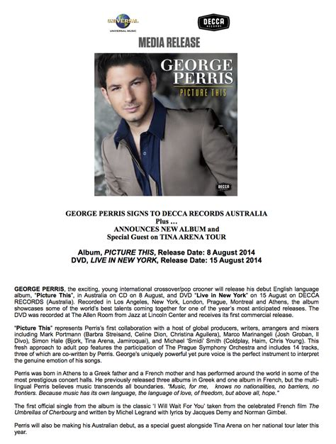Press Release From Decca Records Umg Australia George Perris Official Website Album Press Release Template