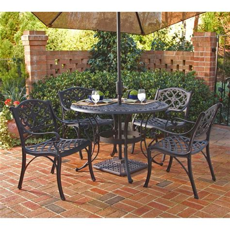 Patio Furniture Set With Umbrella Shop Home Styles Biscayne 5 Black Aluminum Patio Dining Set At Lowes