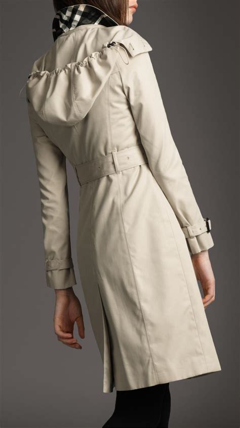 Cotton Trench Coat lyst burberry hooded cotton trench coat in