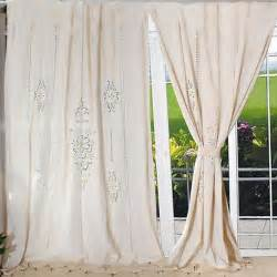 Cotton Lace Curtains Tab Top Country Cotton Linen Crochet Lace Curtain Panel Drape For Living Room Hotel Cafe