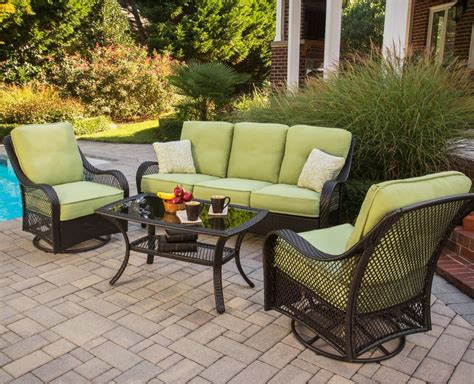 4 Chair Patio Set Hanover Orleans 4 Outdoor Conversation Set With Swivel Glider Chairs