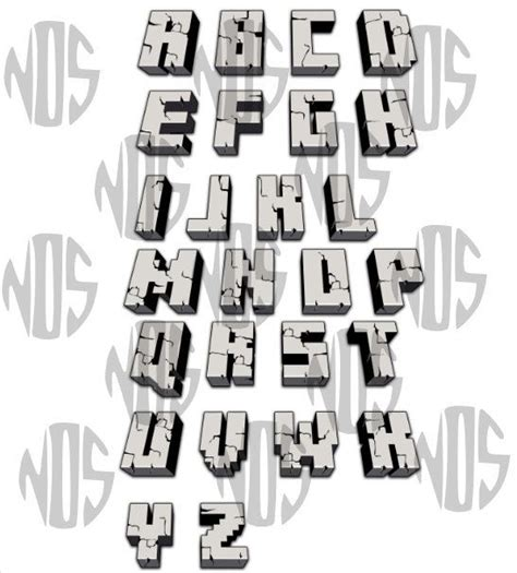 printable minecraft letters digital gray cracked 3d minecraft alphabet by