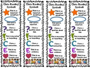 printable nonfiction bookmarks close reading symbols bookmarks back to school beginning