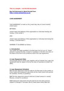 Credit Agreement Template Word Loan Agreement Sle Doc