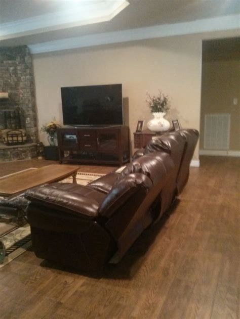 console table behind reclining sofa do i need something behind my couch in this walkway