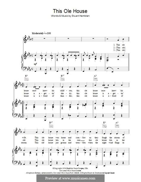 this ole house sheet music this ole house by s hamblen sheet music on musicaneo