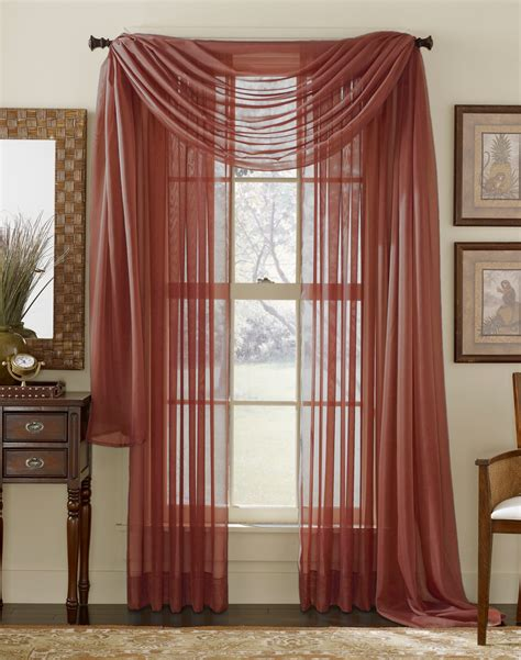 cranberry colored curtains stylemaster elegance sheer curtain and scarf panels