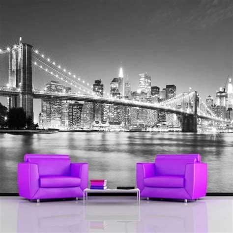 new york wallpaper for bedrooms uk rainbow brooklyn bridge new york wallpaper mural photo