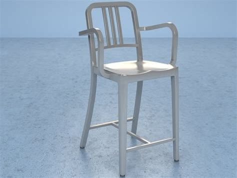 Navy Counter Stools by Navy Counter Stool With Arms 3d Model Emeco