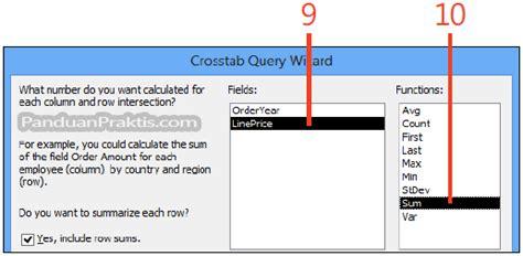 dalam membuat query objects yang utama cara membuat query crosstab menggunakan query wizard di