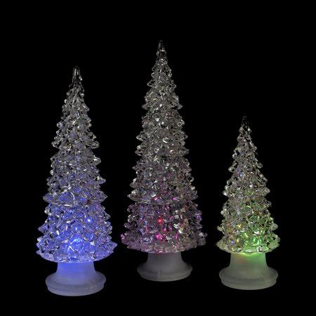 tabletop christmas tree with led lights set of 3 icy multicolored led trees battery operated table top decor 9