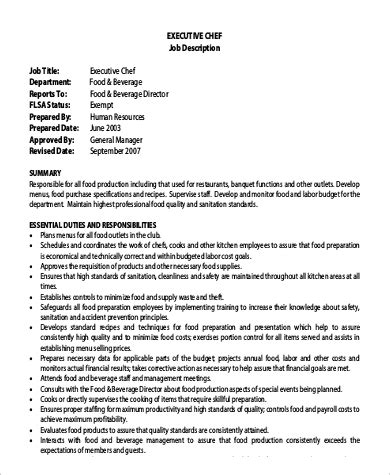 executive sous chef sample resume executive sous chef duties and