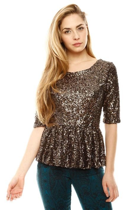 Blouse Squin Top hommage sequin peplum top from miami by prinzzesa shoptiques