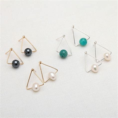 Pearl Triangle Earring triangle stud earrings pearl hematite amazonite by