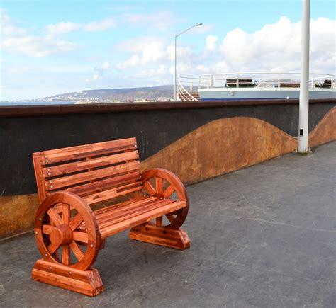 wagon bench redwood wagon wheel bench custom redwood seating