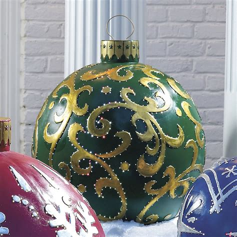 massive outdoor lighted christmas ornaments the green head