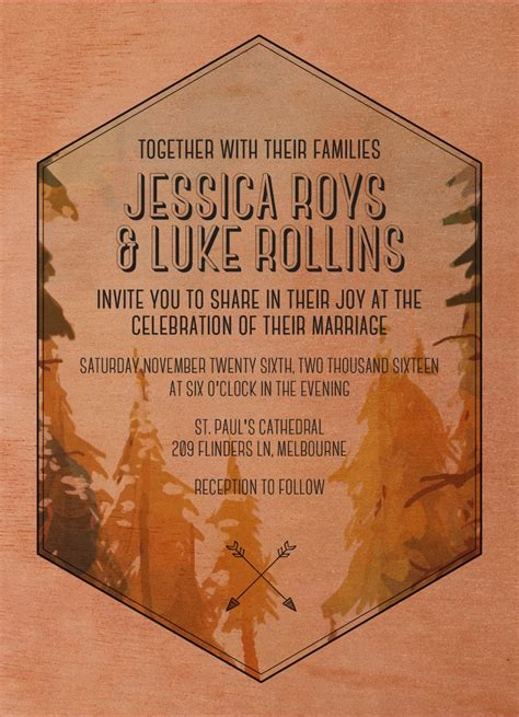 Beyond The Designers by Beyond The Pines Print On Wood Wedding Invitations