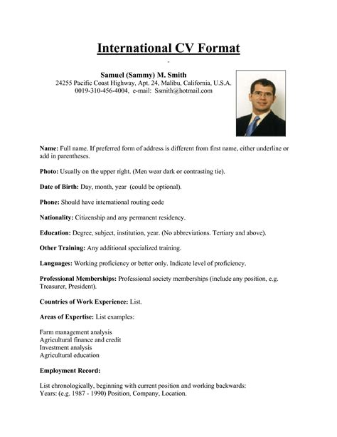 ideal cv format best resume format usa international cv from samuel