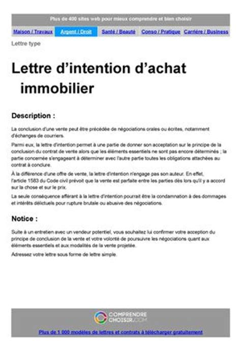 Exemple De Lettre D Intention Calam 233 O Lettre D Intention D Achat
