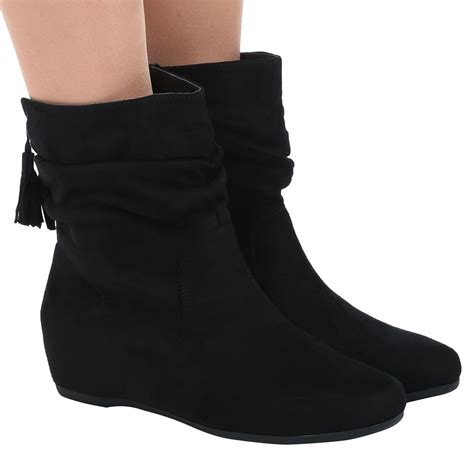 Wedges Heells Boots Flat Shoes 4 womens shoes flat slouch low heel wedge ankle boots pixie casual size new ebay