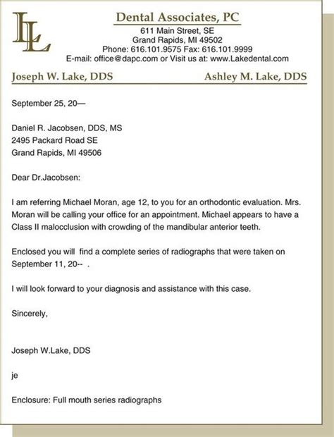Patient Referral Letter Exle Written Communications Pocket Dentistry