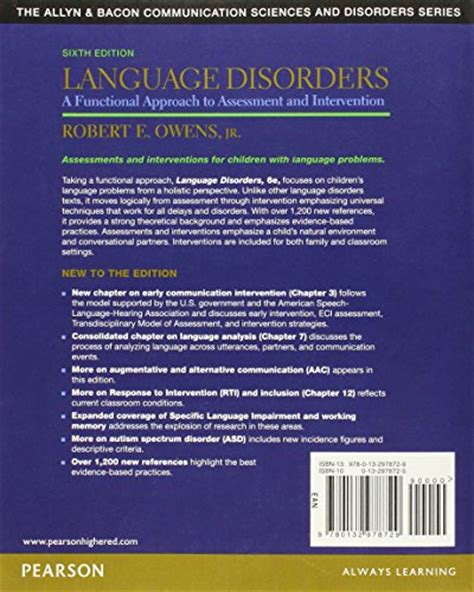 introduction to audiology 13th edition pearson communication sciences and disorders books language disorders a functional approach to assessment