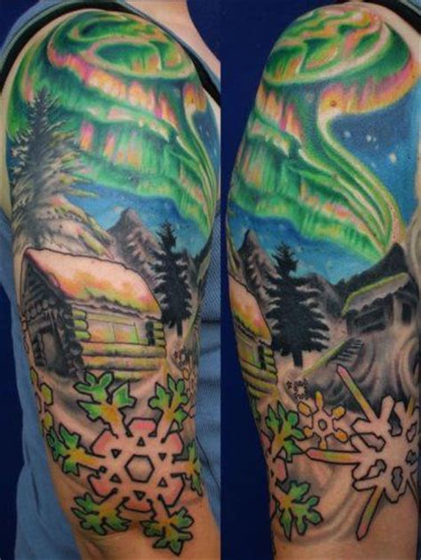 aurora tattoo northern lights ideas snowflakes