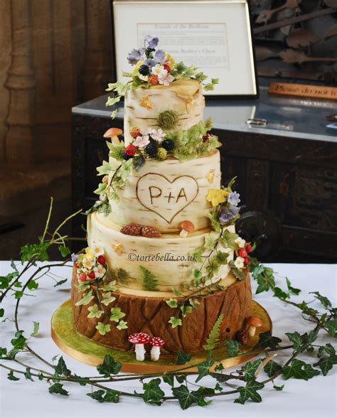 midsummer s enchanted forrest birch bark tree log wedding cake cake designs