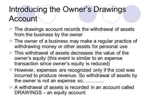 Owners Drawing Account