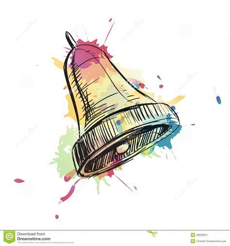 bell ring watercolor sketch vector illustration stock