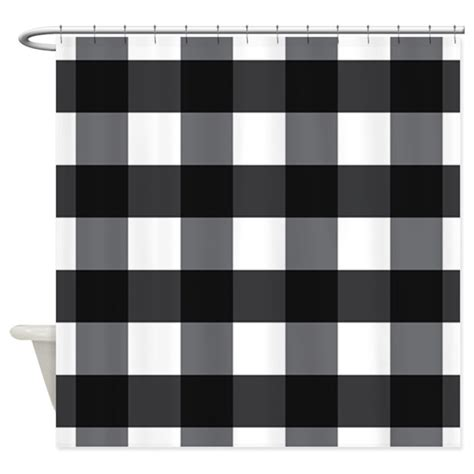 checkered shower curtain black and white gingham check black white shower curtain by