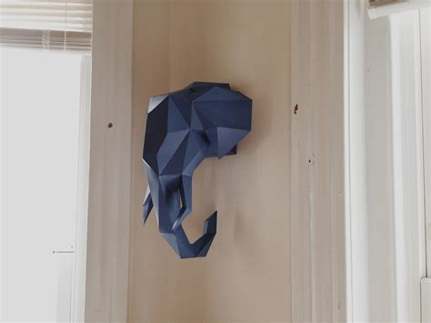 Paper Craft Elephant - lowpoly elephant papercraft hanging diy model