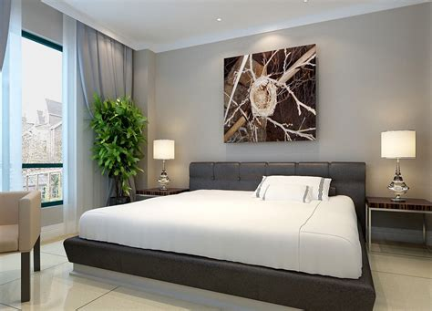 modern minimalist bedroom modern minimalist bedroom with creative painting
