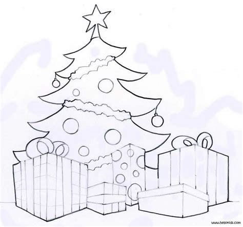Decorated Tree Gifts Coloring Pages Hellokids Com Tree With Gifts Coloring Pages