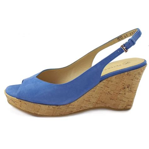 blue wedge sandals kaiser bobby summer sandals in blue suede