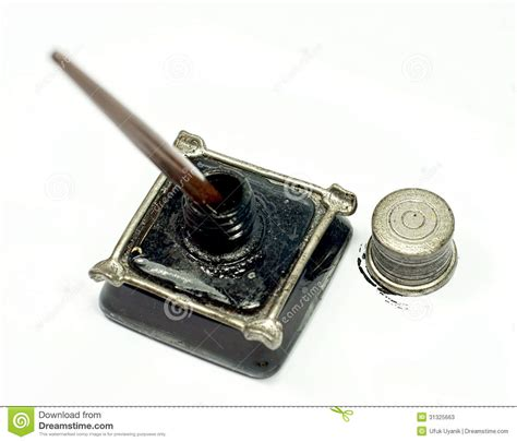 Metal Ink retro ink bottle and nib pen stock image image 31325663