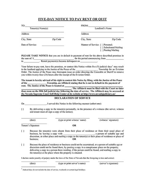 nevada 5 day notice to pay rent or quit ez landlord forms