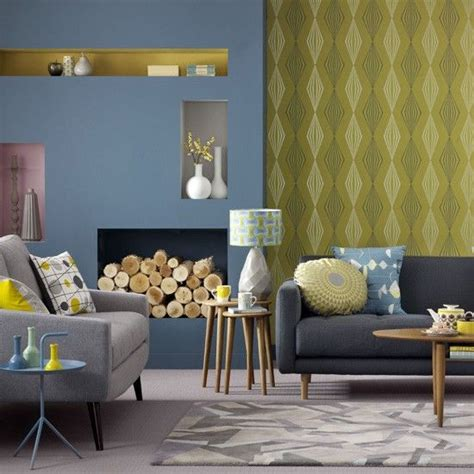 grey wallpaper sitting room blue and yellow living room graphic wallpaper teamed with
